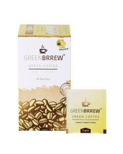 Greenbrrew Lemon Instant Green Coffee Beans Extract For Weight Loss - 20 Sachets 60gm