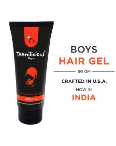 Teenilicious Men's and Boys Hair Styling Gel With Soy Protein For Strong Hold & Keratin For Strength, 60 gms