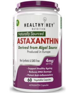 HealthyHey Nutrition Astaxanthin 4mg - Naturally Sourced from Algae - Non-Synthetic - Support Healthy Ageing - 60 Veg Capsules (60)