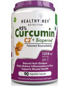 HealthyHey Nutrition Curcumin with Bioperine 1300mg - 90 Vegetable Capsules with Piperine