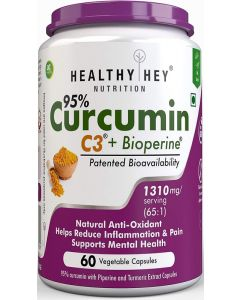HealthyHey Nutrition Curcumin With Bioperine 1300Mg, 60 Vegetable Caps With Piperine - Immunity Booster
