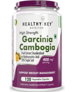 HealthyHey Nutrition Garcinia Cambogia with 70% HCA Extract- Triple Salt - Natural Appetite Suppressant - 400mg - 120 Veg. Capsules