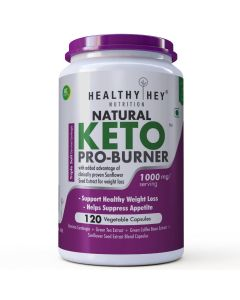 HealthyHey Nutrition Keto Pro-Burner - Support Healthy Weight Loss - 1000mg - 120 Veg Capsules