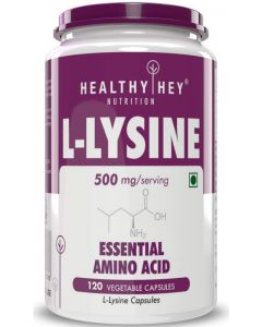 HealthyHey Nutrition L-Lysine 500mg - 120 Vegetable Capsules - No Additives - Essential Amino Supplement (Pack of 1)