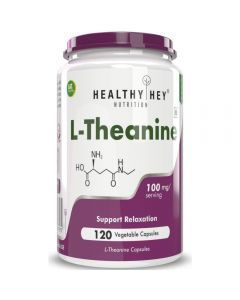 HealthyHey Nutrition L-Theanine 100mg- Support Relaxation - 120 Vegetarian Capsules