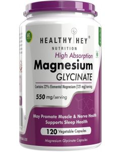 HealthyHey Nutrition Magnesium Glycinate - High Absorption - 550mg - 120 Vegetable Capsules