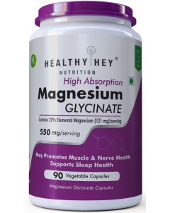 HealthyHey Nutrition Magnesium Glycinate - High Absorption, 550mg, 90 Vegetable Capsules