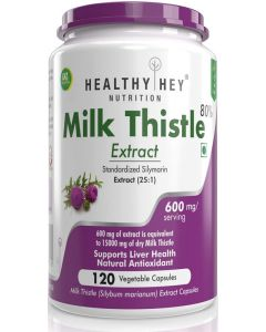 HealthyHey Nutrition Milk Thistle Extract 600 mg, 120 Vegetable Capsules | 25:1 (Silymarin Marianum) - Liver Health Supplement