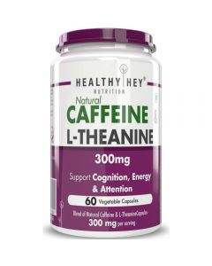 HealthyHey Nutrition Natural Caffeine 100mg Plus L-Theanine 200mg - Support Energy and Focus (60 Vegetable Capsules)