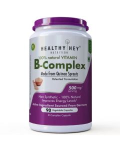 HealthyHey Nutrition Natural Vitamin B-Complex - Made from Quinoa Sprout - Made in Germany - No Chemical - Non Synthetic (90 Vegetable Capsules)
