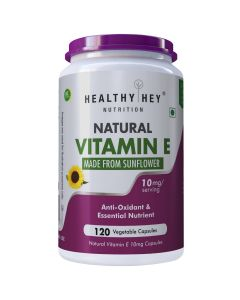 HealthyHey Nutrition Natural Vitamin E from Sunflower - D-Alpha-Tocopherol - 10mg - 120 Veg Capsules