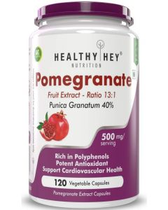 HealthyHey Nutrition Pomegranate Fruit Extract 500mg - 120 Vegetable Capsules