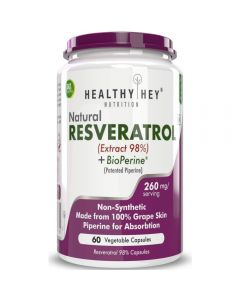 HealthyHey Nutrition Resveratrol Extract 98% Plus BioPerine for Absorption - 260mg - 60 Vegetable Capsules