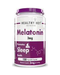 HealthyHey Nutrition Sleep Aid Melatonin 3mg, 120 Vegetable Capsules - Promotes Sleep and Relaxation