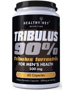 HealthyHey Nutrition Tribulus Terrestris - 90% Saponins- 500 mg x 60 Vegetarian Capsules - For Men's Health