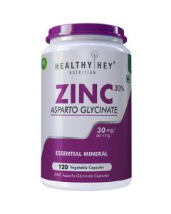 HealthyHey Nutrition Zinc Glycinate - Essential Trace Mineral, 30mg, 120 Vegetable Capsules