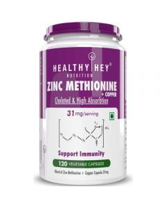 HealthyHey Nutrition Zinc Methionine Plus Copper - Antioxidant Protection - 120 Veg Capsules