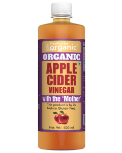 HealthyHey Organic Apple Cider Vinegar with The Mother - Raw & Gluten Free - All Natural - 500ml