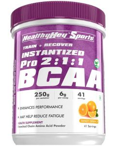 HealthyHey Sports BCAA Powder 2:1:1, Branched Chain Amino Acids, Tangy Orange 250g