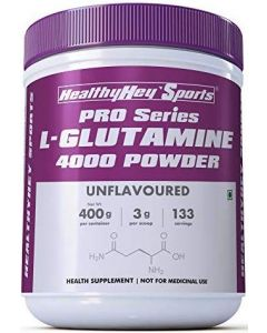 HealthyHey Sports Glutamine Powder, Muscle Growth and Recovery - 400g - 133 Servings