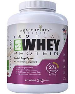 HealthyHey Sports ISO Whey Protein - ISOReal (Produced in USA) - 90% Protein with Digestive Enzymes - Designed for Muscle Enhancement, 2kg unflavured