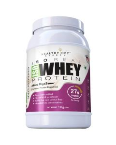 HealthyHey Sports ISO Whey Protein - ISOReal (Produced in USA) - 90% Protein with Digestive Enzymes - Designed for Muscle Enhancement, 1kg unflavured