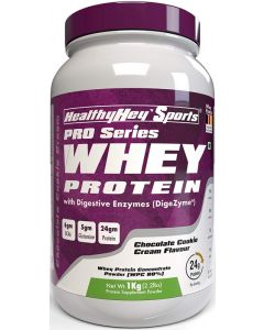 HealthyHey Sports Whey Protein Concentrate (Produced in Germany) - 80% Protein with Digestive Enzymes - 1 kg) (Chocolate Cookie Cream, 1 kg)