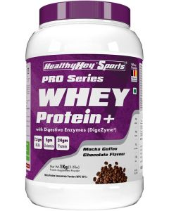 HealthyHey Sports Whey Protein Concentrate (Produced in Germany) - 80% Protein with Digestive Enzymes - 1 kg) (Mocha Coffee Chocolate, 1kg)