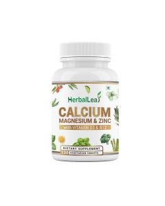 HerbalLeaf Calmazin with Calcium Magnesium Zinc Vitamin D3 & B12 Supports Healthy Bones & Nerves Muscle Function - 120 Tablets