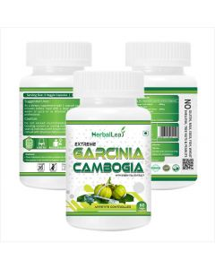 HerbalLeaf Extreme Garcinia Cambogia with 60% HCA & Green Tea Extract | Extreme Fat Burner & Natural Weight Controller | 60 Veg Capsules