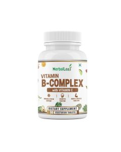 HerbalLeaf Vitamin B-Complex with Vitamin C | Biotin | Choline | Folic Acid | Inositol | Improves Eyesight | Supports Growth of Red Blood Cells | 90 Tablets | 45 Days Supply