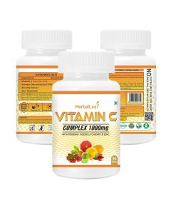 HerbalLeaf Vitamin C-Complex 1000mg with Rosehip | Acerola Cherry | Zinc | Works as Powerful Antioxidant | 90 Tablets | 45 Days Supply