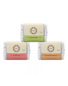 Horeca Soaps Combo of 3 Cold Process Soap - Lavender, Saffron & Sandalwood 300 gm
