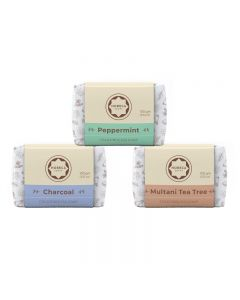 Horeca Soaps Combo of 3 Cold Process Soap - Multani Tea Tree, Peppermint & Charcoal 300 gm