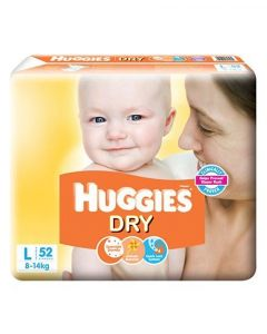 Huggies Dry Taped Diapers Large 52Pieces