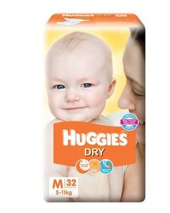Huggies New Dry Taped Diapers Medium 32Pieces