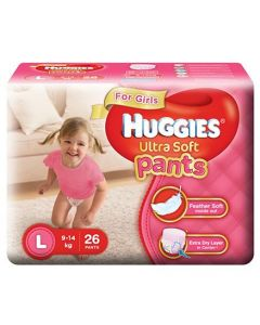 Huggies Ultra Soft Pants Large Size Premium Diapers For Girls 26Pieces