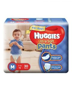 Huggies Ultra Soft Pants Medium Size Premium Diapers For Boys 30Pieces