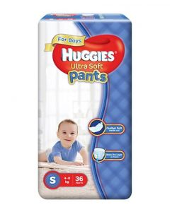Huggies Ultra Soft Pants Small Size Premium Diapers For Boys 36Pieces