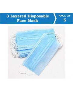 Suntech Mask with Ear Loop, 3 Layered Disposable Protective Pollenproof Daily Use Face Mask (Pack of 5)