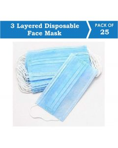 Suntech Mask with Ear Loop, 3 Layered Disposable Protective Pollenproof Daily Use Face Mask (Pack of 20)