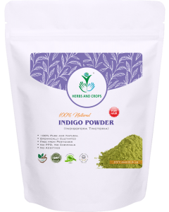 Herbs And Crops Natural Indigo Powder, Green, 227g For Hair Color