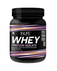 INLIFE 100 Isolate Whey Protein Powder Supplement 27 grams protein per serving (Chocolate 400 gm)