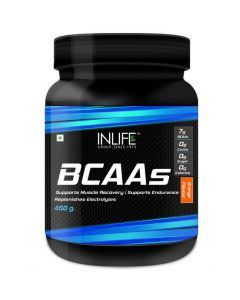 Inlife BCAA Branched Chain Amino Acids 7 G With L-Glutamine Citrulline Malate Nutrition - 450 Grams (Orange)