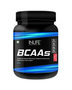 Inlife BCAA Branched Chain Amino Acids 7 G With L-Glutamine Citrulline Malate Nutrition - 450 Grams (Watermelon)
