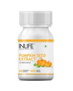INLIFE Pumpkin Seed Extract Supplement 500 mg - 60 Vegetarian Capsules (Pack of 1)