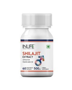 INLIFE Shilajit Extract (Fulvic Acid  3) 500mg (60 Vegetarian Capsules) For Stamina and Vitality