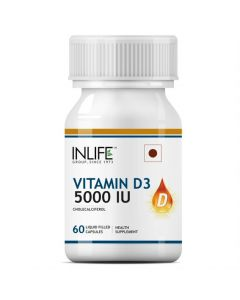 Inlife Vitamin D3 Cholecalciferol Supplement 5000 Iu - 60 Liquid Filled Capsules