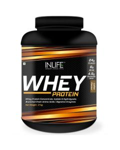 Inlife Whey Protein Powder blend of Isolate Hydrolysate Concentrate Bodybuilding Supplement Whey Protein (2 kg Coffee)