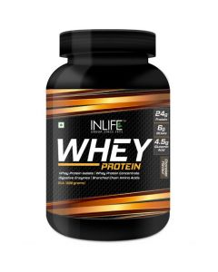 INLIFE Whey Protein Powder with Isolate Concentrate Digestive Enzymes for Gym Body Workout Supplement (Chocolate, 2lb  (908 grams))